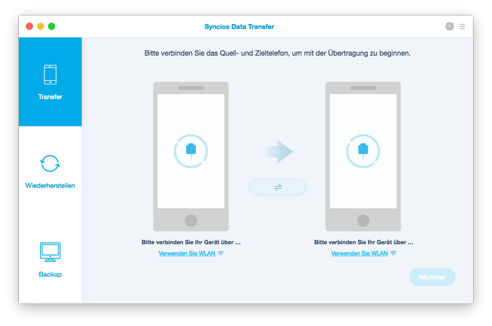 Syncios Data Transfer für Mac Homepage